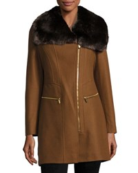Via Spiga Asymmetric Zip Coat With Faux Fur Collar Cognac