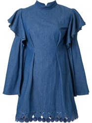 Dresscamp Scalloped Cherry Hem Denim Dress Blue