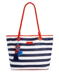 Vera Bradley Beach Striped Tote Navy Stripe