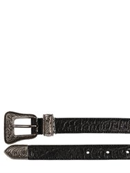 Saint Laurent 20Mm Western Croc Embossed Leather Belt
