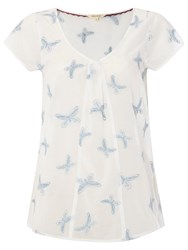White Stuff Butterfly Embroidered Top Ivory Cream