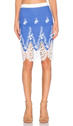 Endless Rose Embroidered Crochet Skirt In Dusty Blue Revolve