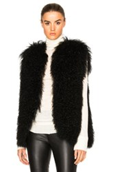 Pam And Gela Mongolian Fur Vest In Black
