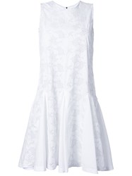 Mikio Sakabe Floral Embroidered Flared Shift Dress White