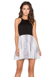 Donna Mizani Racer Front Flounce Dress Black And White