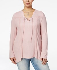 American Rag Trendy Plus Size Waffle Knit Top Only At Macy's Pale Mauve