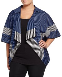 Misook Plus Striped Draped Kimono Blue White Black
