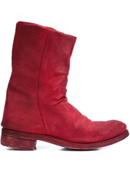 A Diciannoveventitre Double Zipper Boots Red