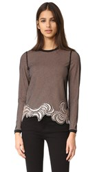 3.1 Phillip Lim Long Sleeve Embroidered Crop Top Blush Black