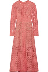 Elie Saab Cotton Blend Lace Dress Antique Rose