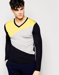 Dkny V Neck Jumper Asymmetric Colour Block Yellow