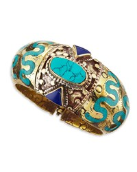 Ahisma Turquoise And Lapis Cuff Devon Leigh Multi Colors