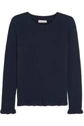 Chinti And Parker Ruffled Ribbed Cashmere Sweater Navy