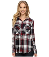 Kut From The Kloth Nora Plaid Utility Blouse Marsala Women's Long Sleeve Button Up Orange
