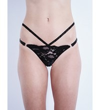 Loveday London Montague Lace And Leather Bikini Briefs Jet Black