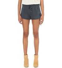 Free People Melvin Turned Up Cuff Cotton Shorts Navy