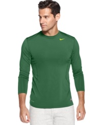 Nike T Shirt Pro Combat Dri Fit Fitted Long Sleeve Tee Mystic Green Volt