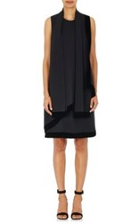 Giorgio Armani Women's Silk Sleeveless Scarf Neck Dress Black