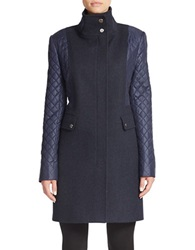 Kenneth Cole Reaction Quilted Sleeve Mock Neck Coat Blue