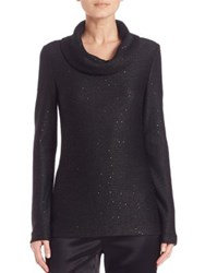 St. John Paillette Cowlneck Sweater Black