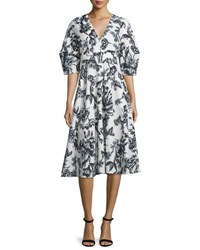 Lela Rose Floral Print Mod Sleeve Cotton Dress Black Ivory
