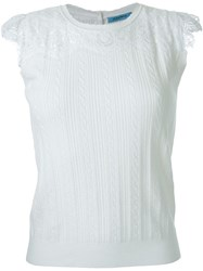 Guild Prime Cable Knit Lace Panel Tank Top White