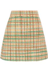 Miu Miu Checked Wool Blend Tweed Mini Skirt Yellow