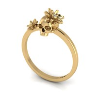 Antoanetta 14K Yellow Gold Skull Ring With Flowers7