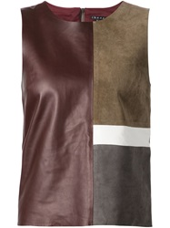 Theory Panelled Leather Top Brown