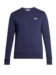 Ami Alexandre Mattiussi Logo Embroidered Crew Neck Sweater Blue