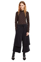Aalto Double Layer Cropped Sweatpants Black