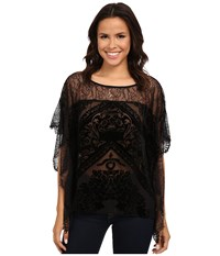 Hale Bob Truth Or Flare Velvert Burnout W Lace Top Black Women's Blouse