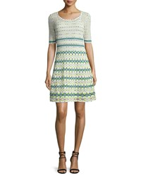 M Missoni Half Sleeve Round Neck Knit Dress White Green Size 38
