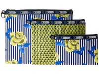 Lesportsac Luggage 3 Piece Travel Set Blue Rosy Dreams Multi Travel Pouch