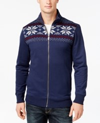 Club Room Sherpa Lined Full Zip Mock Neck Sweater Only At Macy's Navy Blue