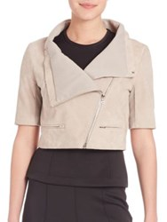 Yigal Azrouel Cropped Short Sleeve Suede Jacket Ivory