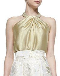 Carmen Marc Valvo Beaded Neck Toga Top Gold