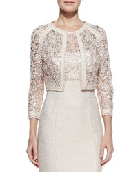 Kay J's By Kay Unger Long Sleeve Metallic Lace Jacket Women's