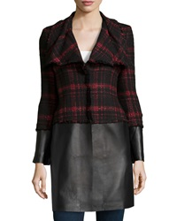 Lafayette 148 New York Cecille Shimmer Tweed And Leather Coat Black Red