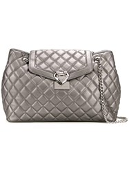 Love Moschino Metallic Grey Quilted Shoulder Bag