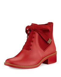 Bernardo Lacey Lace Up Short Rain Boot Red
