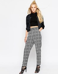 Motel Jez Cigarette Trousers In Monochrome Symmetry Black