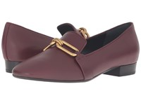 Michael Kors Lennox Loafer Burgundy Smooth Calf Women's Slip On Shoes Brown