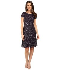 Adrianna Papell Short Sleeve Crunchy Beaded Short Dress With Godets Amethyst Women's Dress Purple