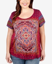 Lucky Brand Plus Size Magic Carpet Graphic T Shirt Red