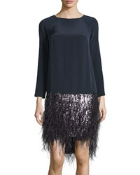 Monique Lhuillier Long Sleeve Feather Trim Dress Midnight