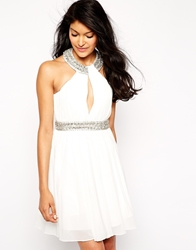 Forever Unique Hayley Skater Dress With Embellishment White