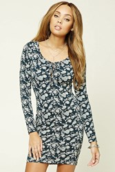 Forever 21 Bodycon Lace Up Dress Navy Tan