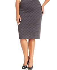 Styleandco. Style And Co. Plus Size Printed Ponte Knit Pencil Skirt Only At Macy's Grey Foula