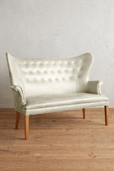 Anthropologie Premium Leather Wingback Bench Ivory